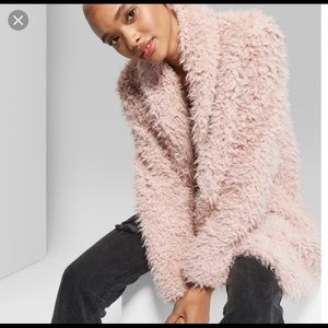 Wild Fable Faux Fur Shaggy Blush Pink Coat - NWT